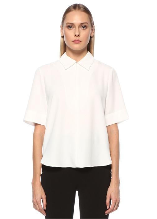 Beyaz Gizli Fermuarlı Kısa Kol Twill Bluz