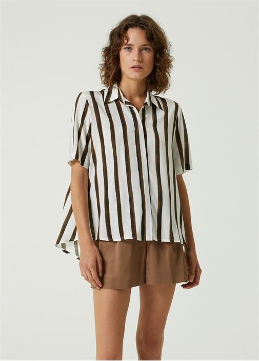 Krem Kahverengi Çizgi Desenli İpek Gömlek