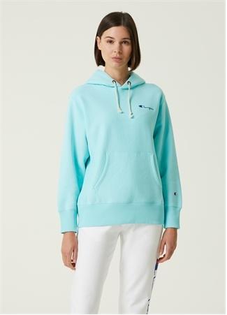 Champion Kadın Mavi Kapüşonlu Logolu SweaT-Shirt S EU