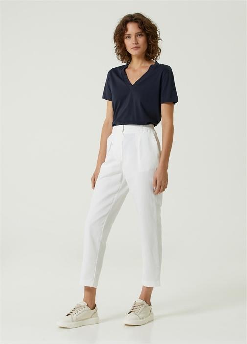 Beyaz Pili Detaylı Pantolon