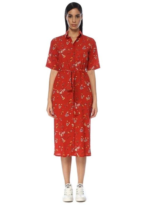 Kırmızı Çiçekli Kısa Kol Midi İpek Gömlek Elbise