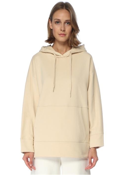 Bej Kapüşonlu Yanları Çıtçıtlı Sweatshirt