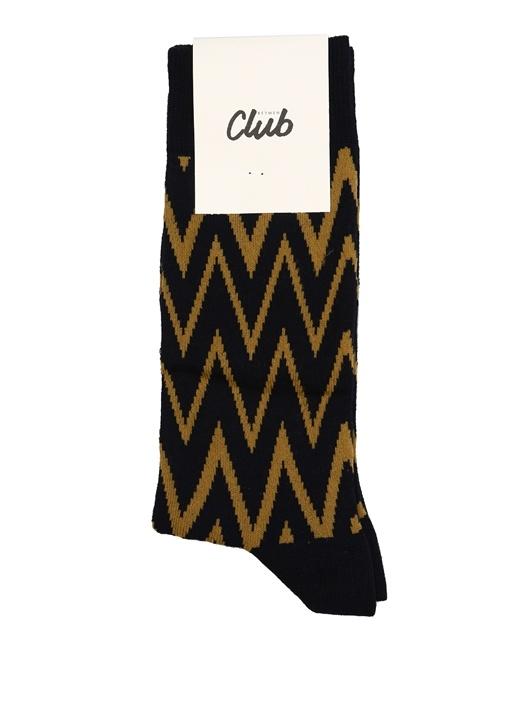 Lacivert Zikzak Desenli Erkek Çorap