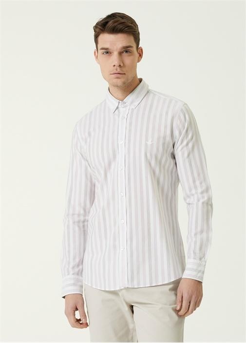 Slim Fit Lila Beyaz Düğmeli Yaka Çizgili Gömlek