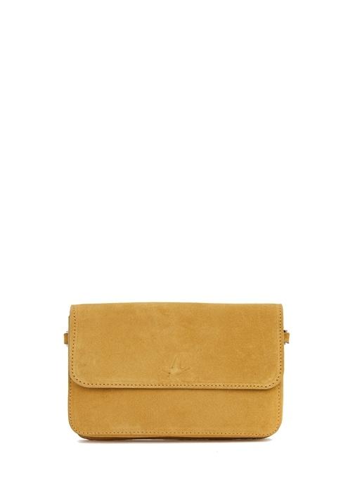 Sarı Mini Kadın Süet Telefon Çantası