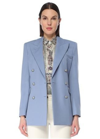 Etro Kadın Mavi Kırlangıç Yaka Kruvaze Yün Ceket 42 IT