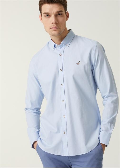 Slim Fit Mavi Düğmeli Yaka Oxford Gömlek