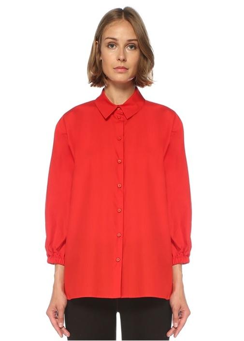 Kırmızı Yarasa Kollu Poplin Gömlek