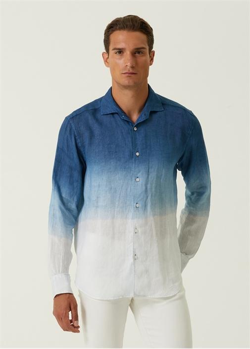 Comfort Fit Mavi Degradeli Keten Gömlek