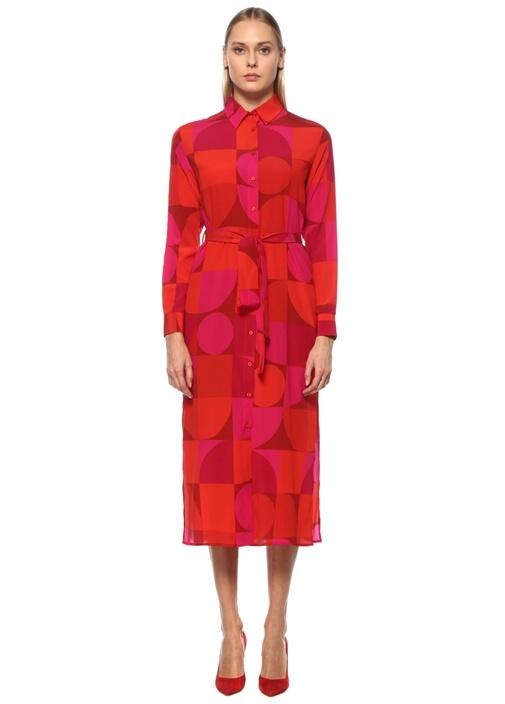 Kırmızı Geometrik Desenli Midi İpek Gömlek Elbise
