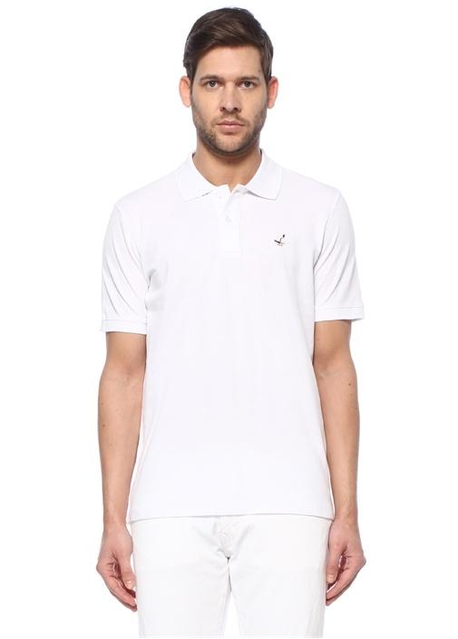 Comfort Fit Beyaz Polo Yaka Dokulu T-shirt