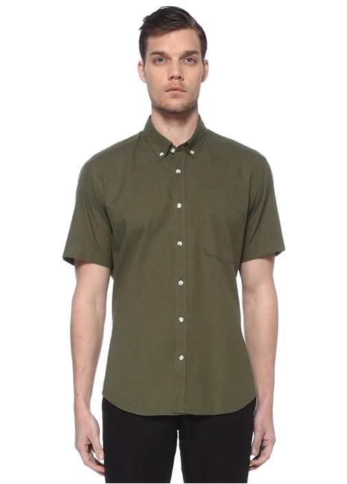 Haki Polo Yaka Kısa Kollu Gömlek