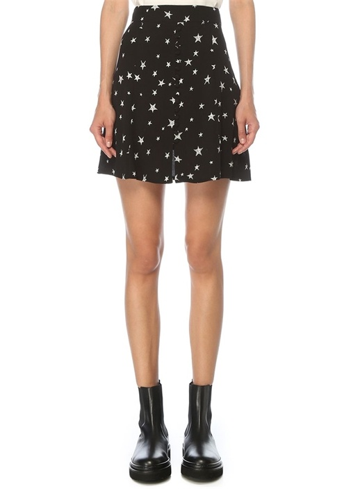Siyah Yıldız Desenli Düğmeli Mini Etek