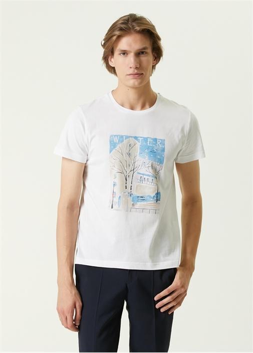 Beyaz Kış Teması Baskılı T-shirt