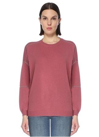 Brunello Cucinelli Kadın Pembe Şerit Detaylı Yün Sweatshirt M EU