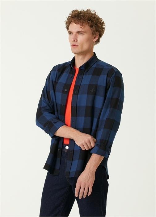 Comfort Fit Düğmeli Yaka Ekoseli Gömlek