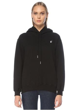 Off-White Kadın Siyah Kapüşonlu Logo Formlu Çiçekli Sweatshirt XS EU