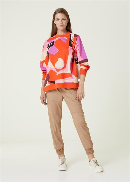 Mercan Geometrik Desenli Sweatshirt