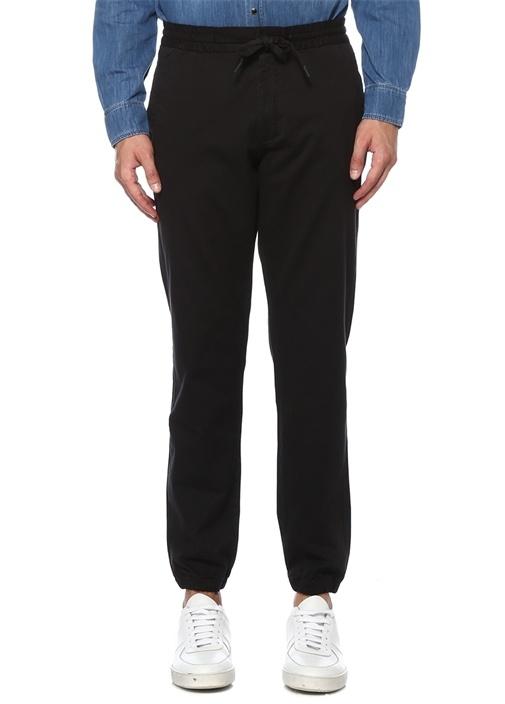 Siyah Beli Kordonlu Yün Spor Pantolon