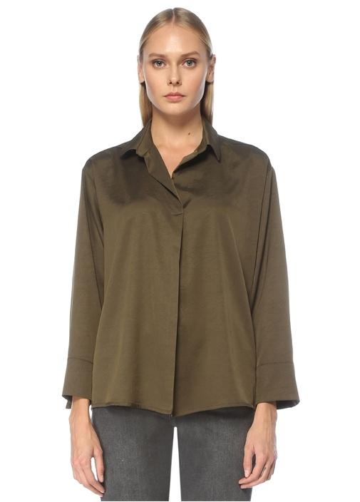 Haki Gömlek Yaka Uzun Kol Bluz