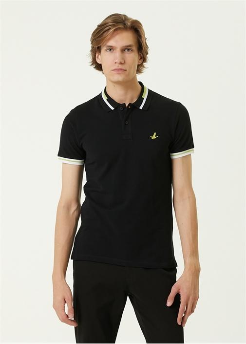 Slim Fit Siyah Polo Yaka Şeritli T-shirt