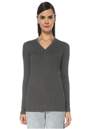 Brunello Cucinelli Kadın Gri V Yaka Zincir Şeritli Uzun Kol T-shirt XS EU
