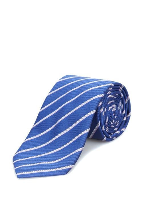 Mavi Verev Çizgi Desenli İpek Kravat