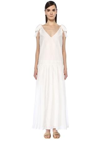 Bird & Knoll Kadın Giselle Beyaz Omzu Bağcıklı Maksi Elbise M EU