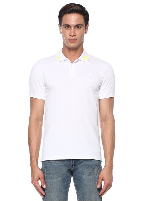Slim Fit Beyaz Yakası Reflektif Figürlü T-shirt