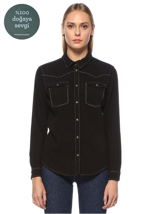 Siyah Kontrast Dikiş Detaylı Jean Gömlek