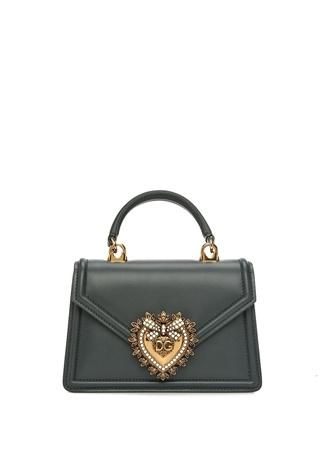Dolce&Gabbana Kadın Yeşil Logolu Deri Omuz Çantası EU