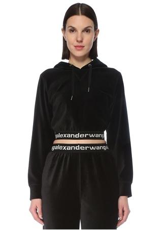T by Alexander Wang Kadın Siyah Kapüşonlu Logo Bantlı Crop Sweatshirt S EU