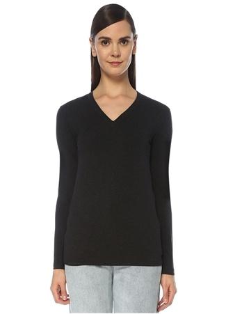 Brunello Cucinelli Kadın Siyah V Yaka Sırt Detaylı Uzun Kol T-shirt Gri XS EU