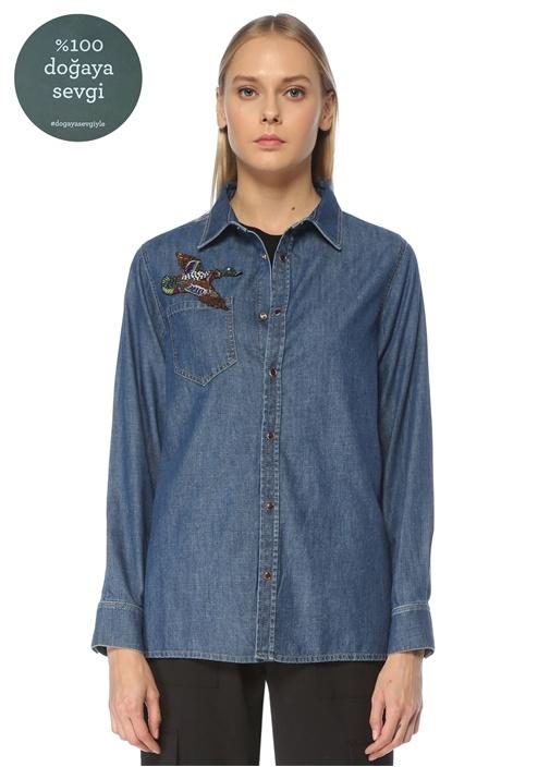 Mavi Polo Yaka Kuş Nakışlı Denim Gömlek