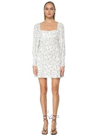 Naia Kadın Zella Beyaz Kalp Yaka Çiçekli Mini Kokteyl Elbise S EU