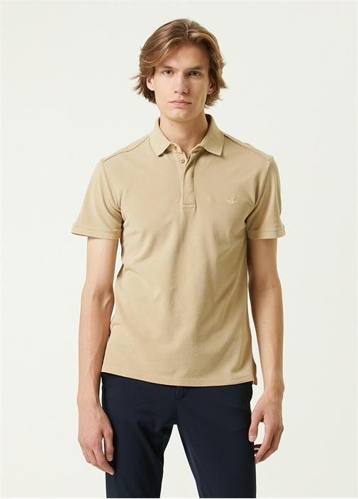 Slim Fit Bej Polo Yaka T-shirt