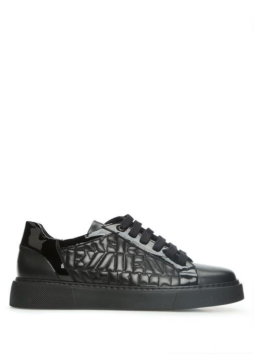 Siyah Kapitone Detaylı Kadın Deri Sneaker