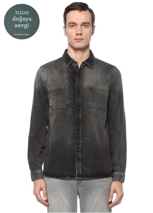 Antrasit İngiliz Yaka Jean Gömlek
