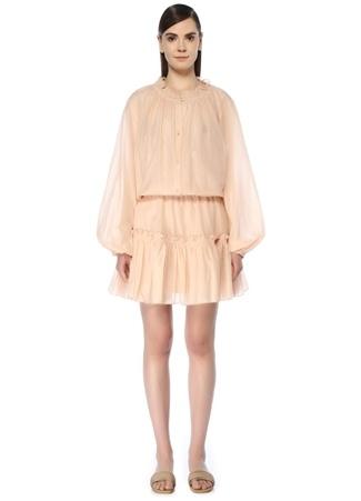 Bird & Knoll Kadın Bijoux Krem Fırfırlı Balon Kol Mini Elbise Bej S EU