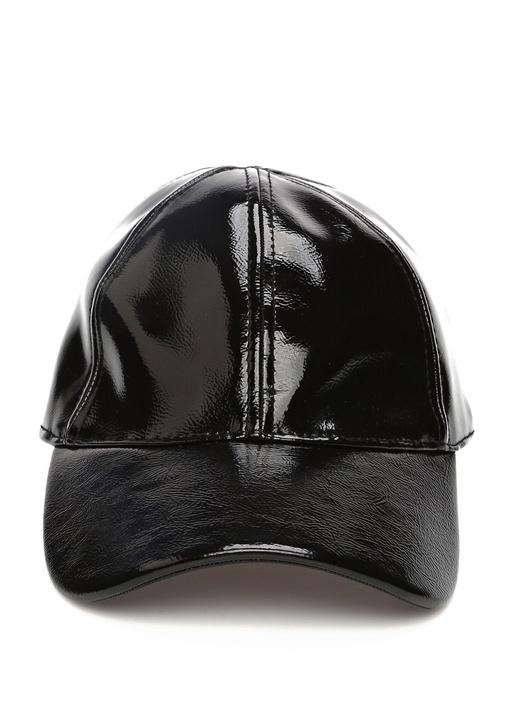 Siyah Parlak Dokulu Kadın Şapka