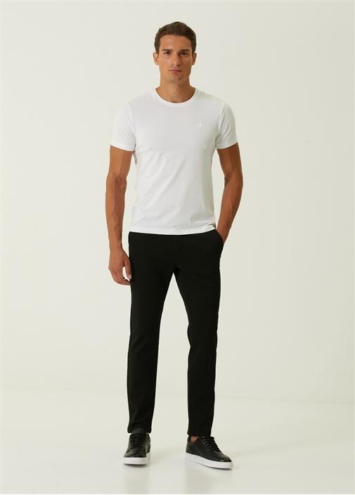 Slim Fit Siyah Grogren Detaylı Chino Pantolon
