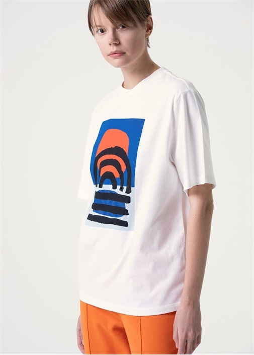 Beyaz Güneş Batımı Art Baskılı T-shirt