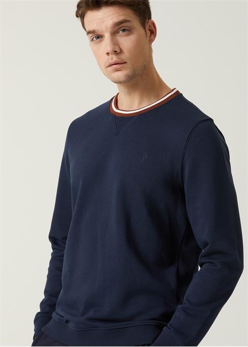 Lacivert Yakası Çift Renk Çizgi Detaylı Sweatshirt