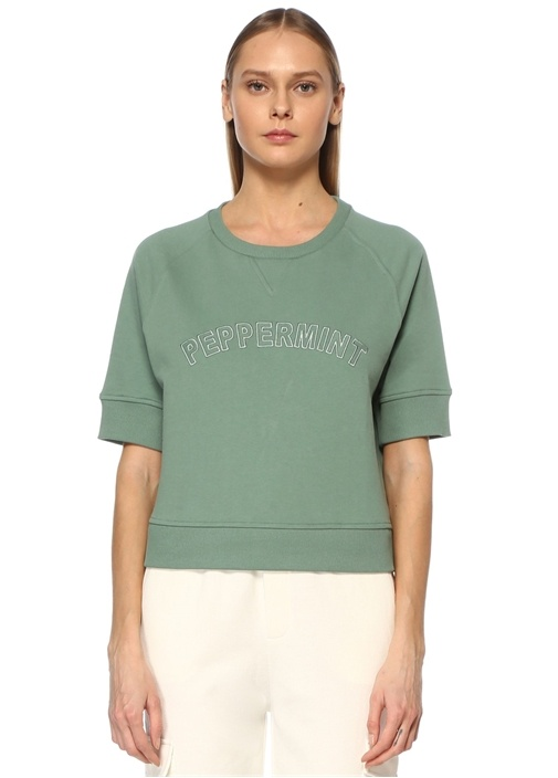 Mint Slogan Nakışlı Cropped Sweatshirt