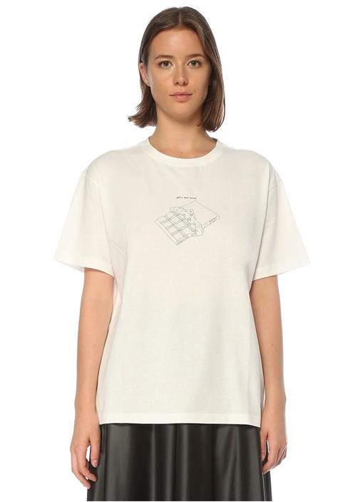 Oversize Beyaz Baskılı T-shirt