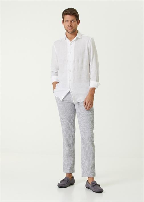 Lacivert Beyaz Çizgi Desenli Spor Pantolon