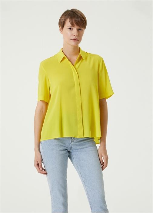 Neon Sarı Polo Yaka İpek Gömlek