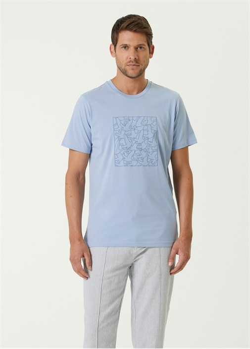 Mavi Kuş Desenli T-shirt