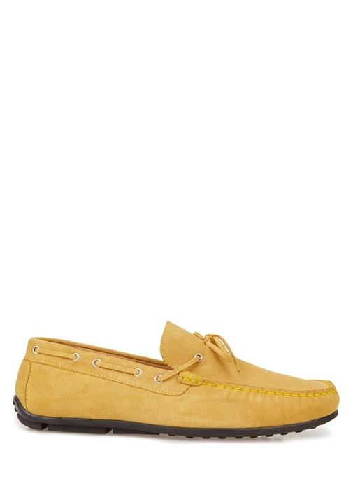 Sarı Bağcık Detaylı Erkek Süet Loafer