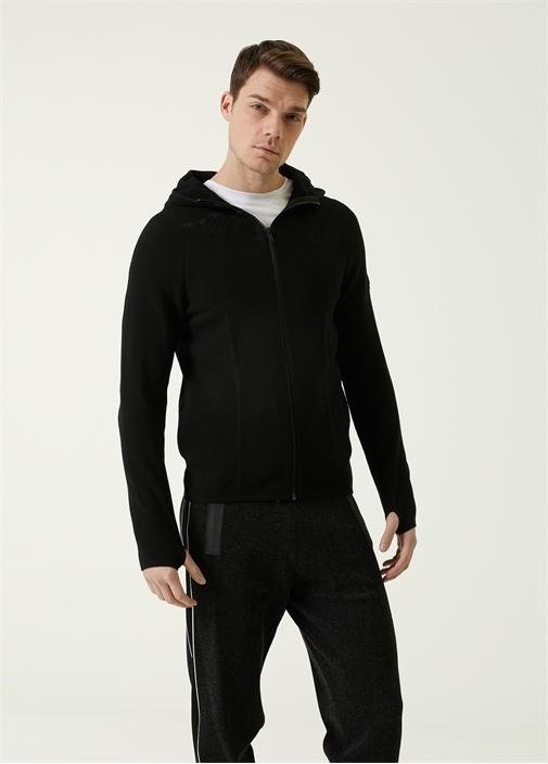 Siyah Beli Kordonlu Şeritli Jogger Triko Pantolon
